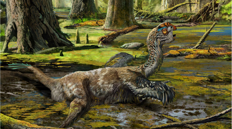 An artistic reconstruction showing the last-ditch struggle of Tongtianlong limosus as it was mired in mud—one possible, but highly speculative, interpretation for how the specimen was killed and buried. Drawing by Zhao Chuang.